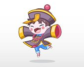 Cute Style Child in Halloween Day Costume [Chinese Zombie] Illustration
