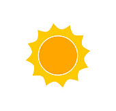 Cute sun icon. Flat design vector.