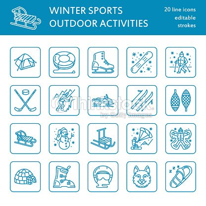 Cute thin line icons of winter sports. Outdoor activities vector elements snowboard, hockey sled, skates, snow tubing, ice kiting. Linear pictogram with editable stroke for equipment rent ski resort