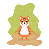 cute tiger adorable character vector illustration design