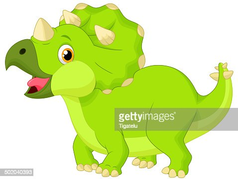 cute triceratops cartoon vector art thinkstock
