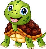 Illustration of Cute turtle cartoon smiling
