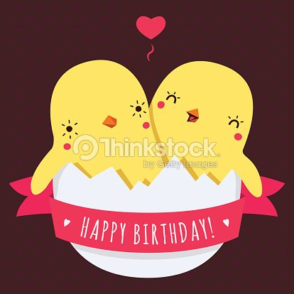 Cute Twins Baby Chickens In Egg Vector Happy Birthday Card Vector – Twin Sister Birthday Card
