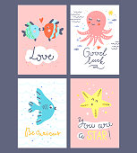 Cute underwater creatures vector cards. Concept design posters with octopus, fishes and sea star. Funny ocean animals illustrations with lettering