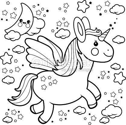 Lindo Unicornio Volando En El Cielo Nocturno Libro Para Colorear ...
