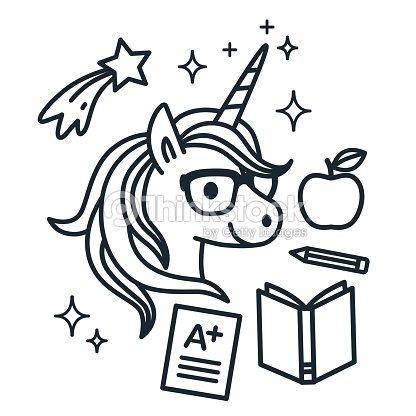 Lindo Unicornio Usar Anteojos Con Iconos Temáticos Escuela Alrededor ...