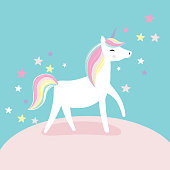 Cute unicorn with soft pink background, vector illustation