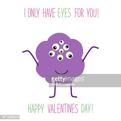 Cute Unusual Valentines Day Card With Funny Cartoon Character Of
