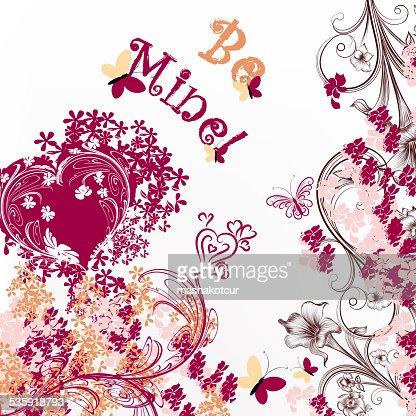 Cute Valentine or wedding card be mine : Vector Art