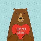 Cute Valentine's Day card with Bear, can be used as card, banner etc