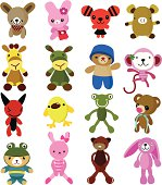 Some cute characters - dog, rabbit, pig, giraffe, bear, monkey, devil, chicken, frog, etc.