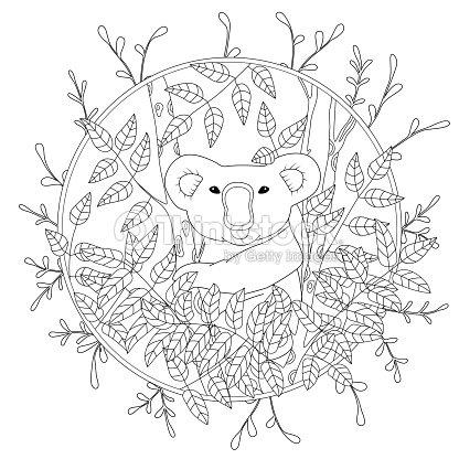 Lindo Vector Página Para Colorear Con Koala Trepando Sobre La ...