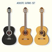 Cute vector guitars illustrations set. Acoustic (classic) guitars.Popular music instrument.