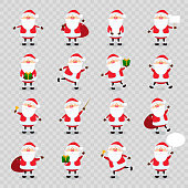 Cute vector Santa Claus icon set in flat style isolated on transparency grid background, christmas collection, xmas and New year character in different poses. Funny Santa with different emotions. Desi