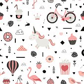 Cute vector seamless pattern with unicorn. All elements are  hidden under mask. Pattern are not cropped and can be edited.