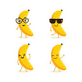 Cute vector set of banana fruit character in different action emotion. Collection of banana characters in different expressions, Funny fruit character isolated on white background