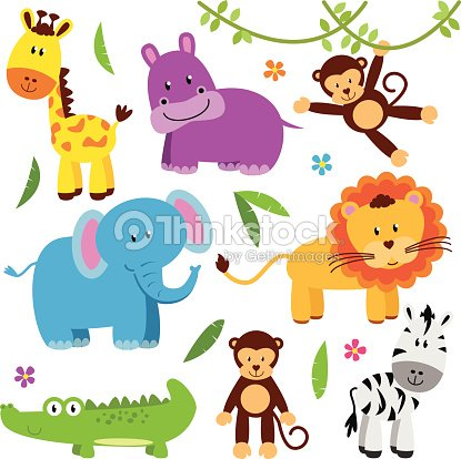 Cute vector set of zoo animals vector art thinkstock - Babyzimmer jungle ...