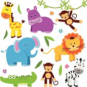 Cute Vector Set of Zoo Animals.