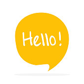 Cute vector speech bubble icon with hello greeting.