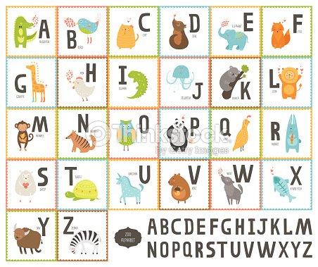 Cute vector zoo alphabet with cartoon animals