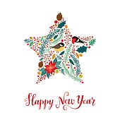 Cute vintage hand drawn rustic floral Happy New Year card for your decoration