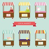 Cute vintage market stands for your decoration