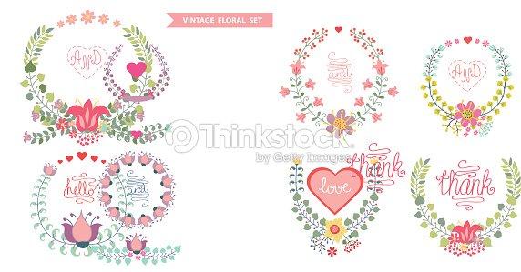 Linda Vintage Vector Flores Conjunto De Corona Con