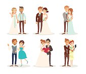 cute wedding couple bride and groom vector cartoon illustration