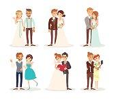 cute wedding couple bride and groom vector cartoon illustration