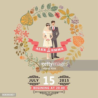 Susse Hochzeit Einladung Mit Braut Brautigam Herbst Blatter Kranz
