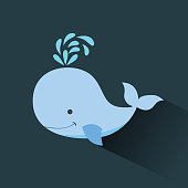 cute whale cartoon icon image vector illustration design