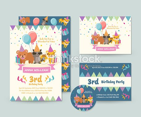 Cute wild animal theme happy birthday invitation card set and flyer cute wild animal theme happy birthday invitation card set and flyer illustration template vector art filmwisefo