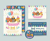 Cute Children Happy Birthday Invitation Card Set And Flyer Illustration Template