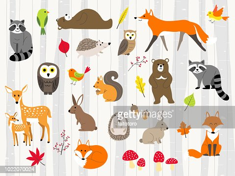 cute wild animals cartoon set : stock vector