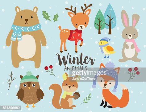 Cute Winter Animals with Snow Background : stock vector