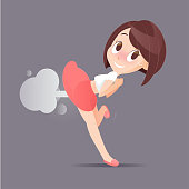 Cute Woman Farting With Blank Balloon Out From Her Bottom Vector, Funny Face Cartoon, Illustration