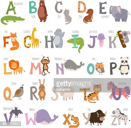 Cute zoo alphabet with cartoon animals isolated on white background and grunge letters wildlife learn typography cute language vector illustration : Vector Art