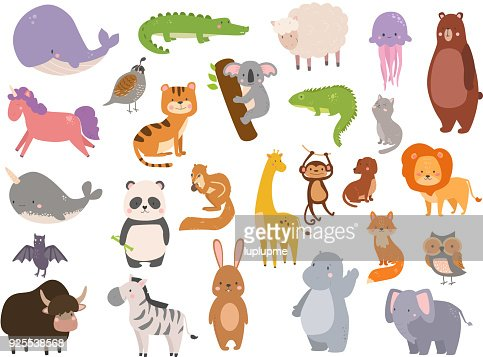 Cute zoo cartoon animals isolated funny wildlife learn cute language and tropical nature safari mammal jungle tall characters vector illustration : Vector Art