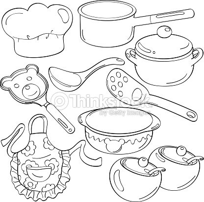 Cutie Kitchen Utensils Vector Art