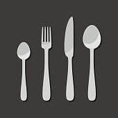 Cutlery icons in flat style. Illustration with spoon, knife, fork