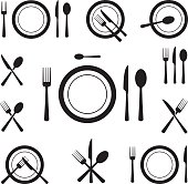 Vector illustration of cutlery icons.
