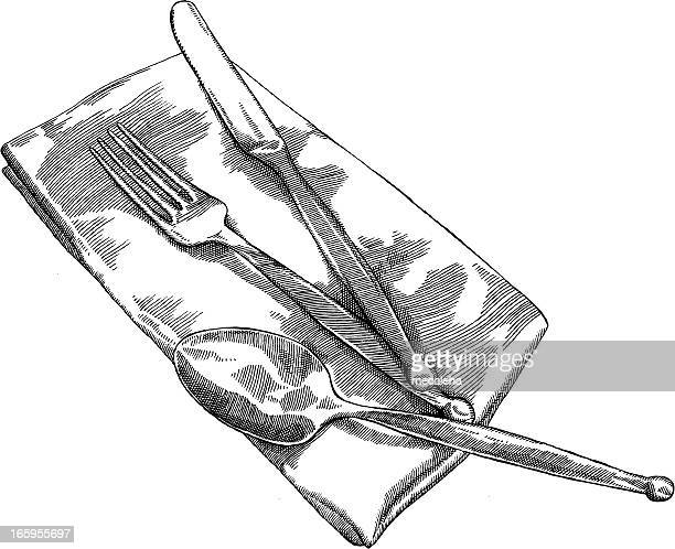 table napkins drawing stock illustrations and cartoons