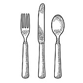 Cutlery set with knifes, spoon and fork. Vector black vintage engraving illustration for menu, poster, label. Isolated on white background