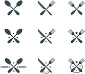 Set of flat cutlery symbols