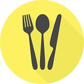 Modern cutlery vector icon with long shadow.