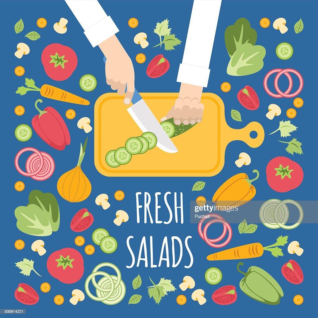 Cortando verduras para la ensalada : Vector Art