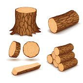 Cutting wood elements in vector