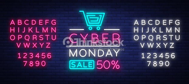 Cyber Monday, discount sale concept illustration in neon style, online shopping and marketing concept, vector illustration. Neon luminous signboard, bright banner. Editing text neon sign : stock vector