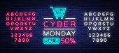 Cyber Monday, discount sale concept illustration in neon style, online shopping and marketing concept, vector illustration. Neon luminous signboard, bright banner. Editing text neon sign.