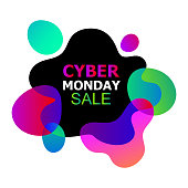 Cyber Monday concept banner in trendy abstract fluid neon style, luminous nightly gradients liquid organic shapes, advertisement of sales rebates of cyber Monday. Vector illustration for flyers, cards